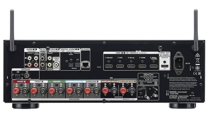 Amply Denon AVR-X1400H mặt sau