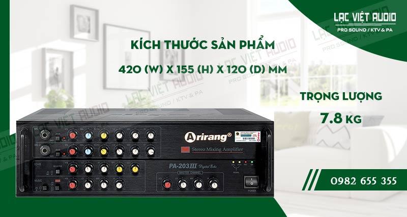 Thiết kế bên ngoài hiện đại và sang trọng củaamply karaoke arirang PA-203III
