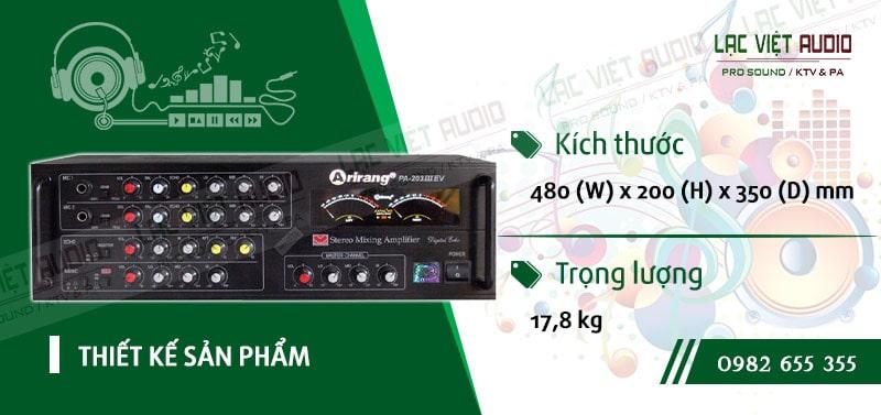 Thiết kế bên ngoài hiện đại và sang trọng củaamply karaoke arirang PA-203III EV