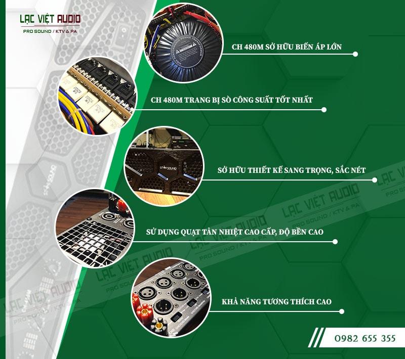 Một số đặc điểm nổi bật của sản phẩmCục đẩy công suất Star Sound CH 480M