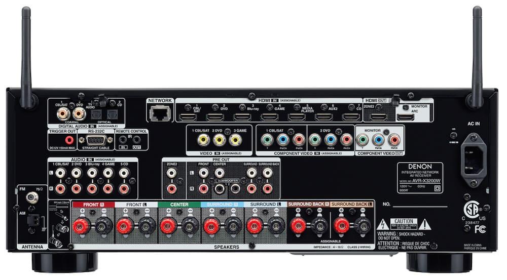 Amply Denon AVR-X3200W mặt sau