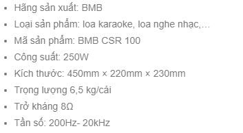 Thông số kỹ thuật loa BMB CSR 100