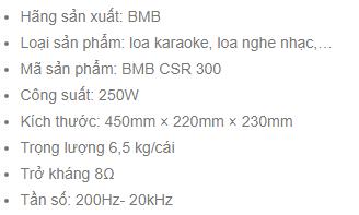Thông số kỹ thuật Loa BMB CSR 300