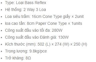 Thông số kỹ thuật loa BMB CSR500